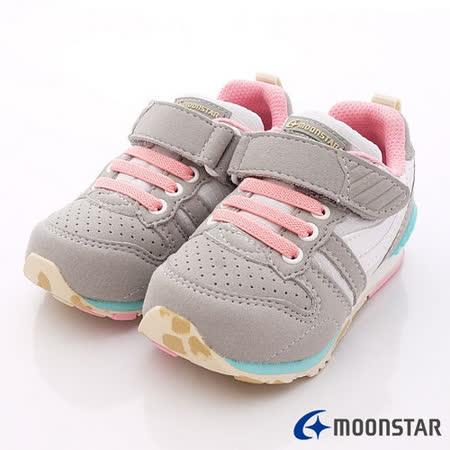 日本Carrot機能童鞋-輕量機能款-CRC21217灰粉(14cm-20cm)