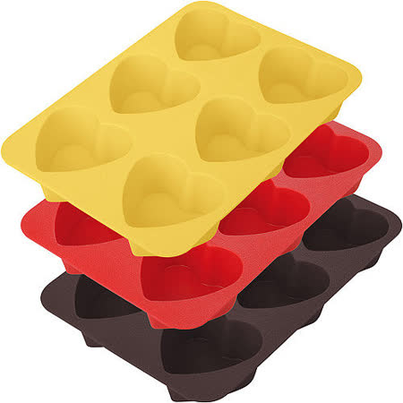 《TESCOMA》六格矽膠愛心蛋糕烤盤(7cm)