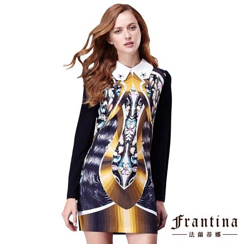 ~法蘭蒂娜~多層次襯領滿版圖騰連身洋裝