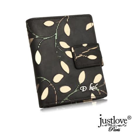 【justloveParis】法國名品時尚真皮皮夾麂皮手感彩繪金葉壓扣短夾附禮盒(黑)BW0139-3