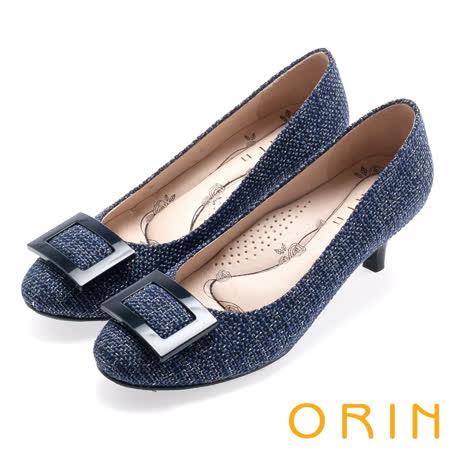 ORIN 時尚魅力 方型飾釦優雅中跟鞋-藍色