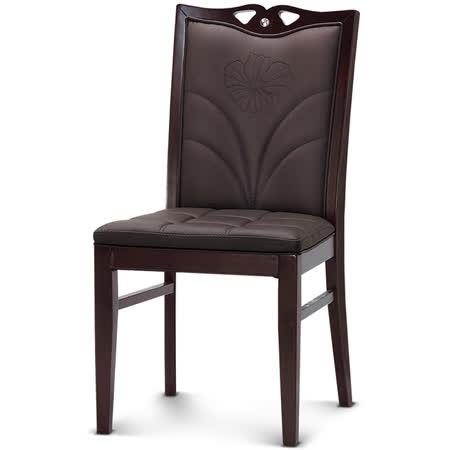 【椅吧】宴會廳用咖啡色皮面實木餐椅