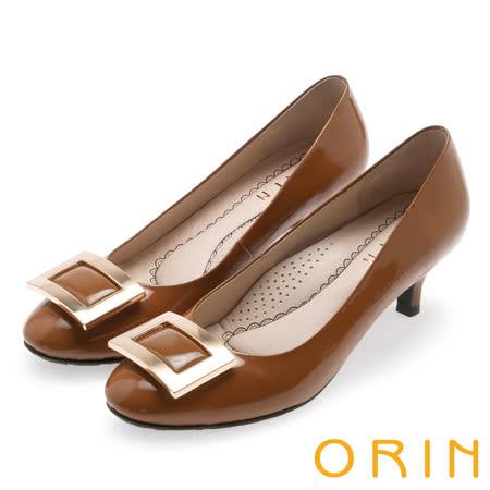 ORIN 都會魅力 舒適柔軟羊皮方釦中跟鞋-棕色