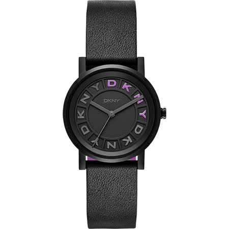 DKNY 紐約派對都會腕錶-黑x紫/34mm NY2389