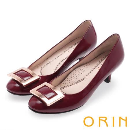 ORIN 都會魅力 舒適柔軟羊皮方釦中跟鞋-酒紅
