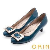 ORIN 都會魅力 舒適柔軟羊皮方釦中跟鞋-藍綠