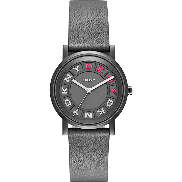 DKNY 紐約派對都會腕錶~灰黑x桃紅34mm NY2390