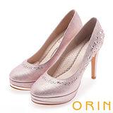 ORIN 晚宴婚嫁首選 閃耀水鑽高跟鞋-粉紅