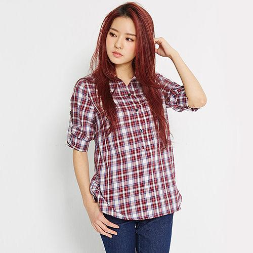 【TOP GIRL】休閒百搭格紋襯衫-女-(共二色)