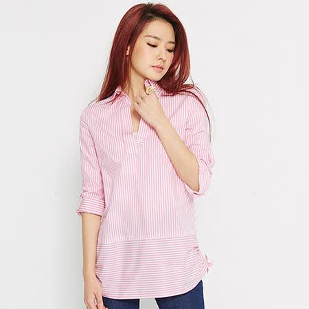 【TOP GIRL】條紋V領七分袖長版襯衫-女-(共二色)