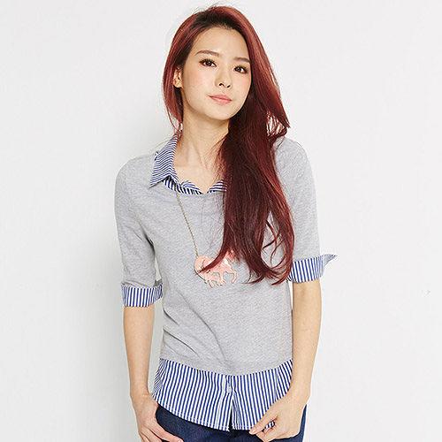 【TOP GIRL】假兩件式拼接直條紋襯衫-女-(共二色)