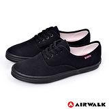 AIRWALK(女) - 斜斜的30度青春 素面綁帶帆布鞋 - 素黑