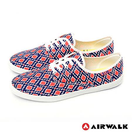 AIRWALK(女) - 幾何普普 亮彩滿分休閒帆布鞋 - 幾何紅