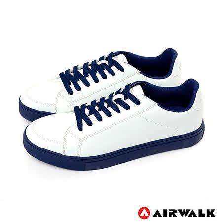 AIRWALK(男) - 史密斯先生 美式仿皮革圓頭色休閒板鞋 - 藍底白