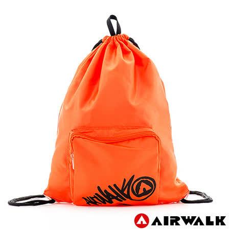 AIRWALK - 輕便束口袋 無拘無束 自由出走輕便束口後背包 - 黑字橘