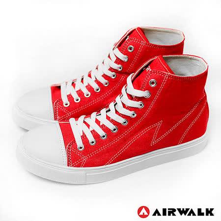 AIRWALK(男) - 青春年代復刻圓頭高筒帆布鞋 - 嗆人紅