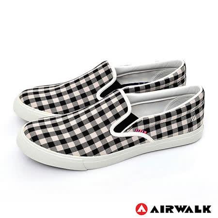 AIRWALK(男) - 方格子 直套霸王帆布鞋 - 黑白格紋