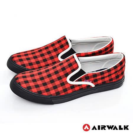 AIRWALK(男) - 方格子 直套霸王帆布鞋 - 紅黑格紋