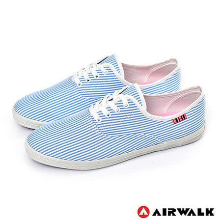 AIRWALK(女) - 斜斜的30度青春 斜紋綁帶帆布鞋 - 斜藍