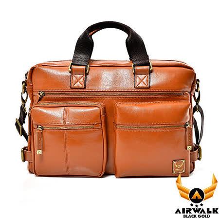AIRWALK - 黑金系列 型男爵士公事兩用筆電包 - 獵物棕