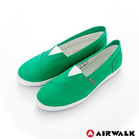 AIRWALK(女) - 帆布鞋 甜姐兒V領 斜紋拼布 輕柔純棉帆布鞋 - 綠