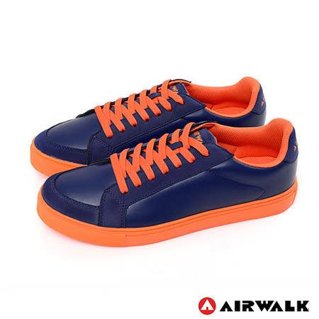 AIRWALK(男) - 史密斯先生 美式仿皮革圓頭色休閒板鞋 - 桔底藍