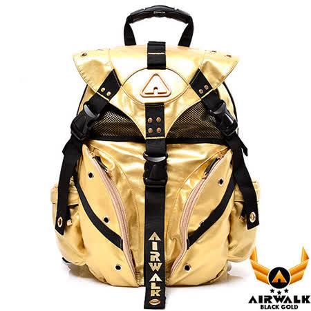 AIRWALK - 黑金系列 限定黃金三叉後背大包 - 鋒芒金