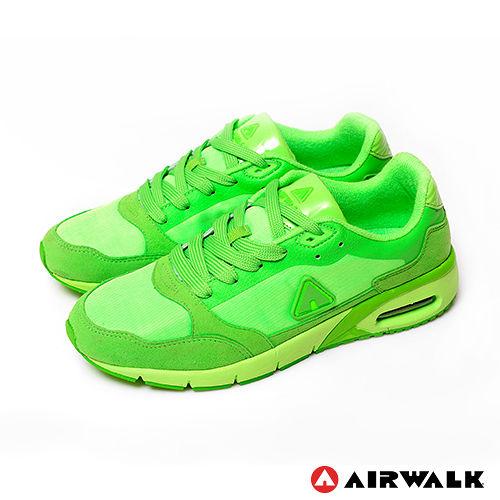 AIRWALK 男  ~ 情侶雙彩 超彈氣墊雙料輕量慢跑 鞋 ~ 彩螢綠