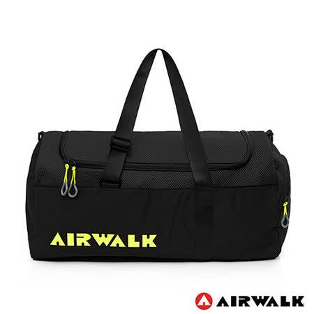 AIRWALK - 空氣感 撞色圓筒手提旅行包(大) - 全黑