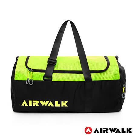 AIRWALK - 空氣感 撞色圓筒手提旅行包(大) - 螢撞黑