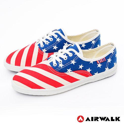 AIRWALK^(女^) ~ I LOVE U.S.A. 美國旗子活力青春帆布鞋 ~ 紅藍