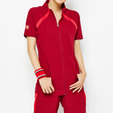 TOP GIRL 立領拼接短袖外套-紅
