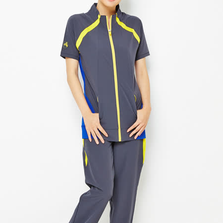 TOP GIRL 立領拼接短袖外套-藍