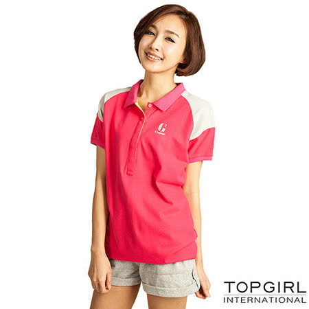 【TOP GIRL】長版造型POLO衫-女(蜜桃紅)