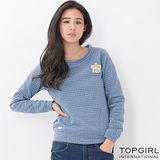 【TOP GIRL】好感壓紋圓領T-女(麻花藍)