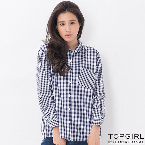 【TOP GIRL】長版格子襯衫-女(格子藍)
