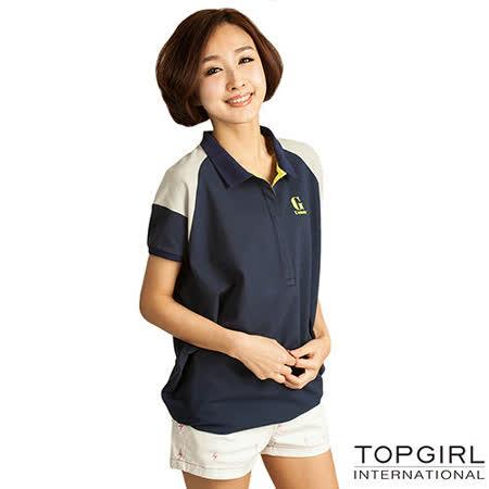 【TOP GIRL】長版造型POLO衫-女(深海藍)