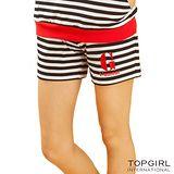 【TOP GIRL】橫條短褲-女S黑白條