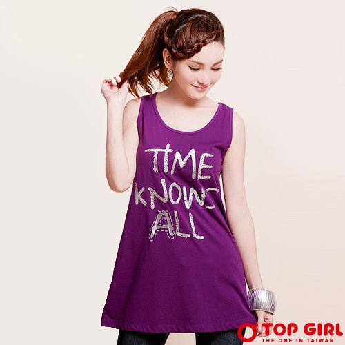 【TOP GIRL】時間真相有機棉長版背心-女(甜蜜紫)