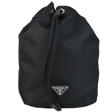 PRADA 三角鐵牌尼龍束口多功能/化妝包(黑)