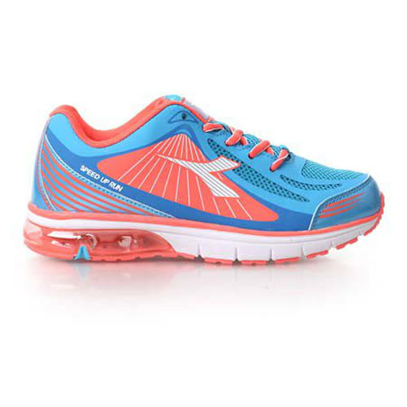 (童) DIADORA 男女大氣墊慢跑鞋-男 女 鞋 慢跑 水藍粉橘