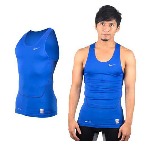 (男) NIKE PRO 緊身背心-慢跑 路跑 重訓 健身 無袖緊身衣 寶藍銀(品特)