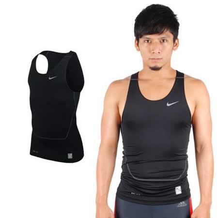 (男) NIKE PRO 緊身背心-慢跑 路跑 重訓 健身 無袖緊身衣 黑灰(品特)