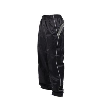 (男) KAPPA 防風長褲-運動長褲 雙層風褲 防潑水 黑白(品特)