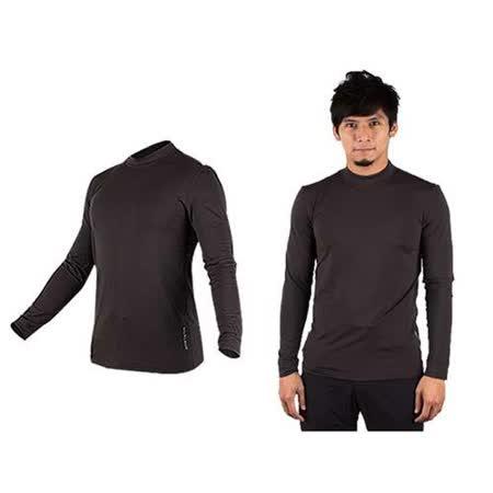 (男) WILDLAND 遠紅外線彈性保暖長袖T恤衣-刷毛 內衣  深灰(品特)