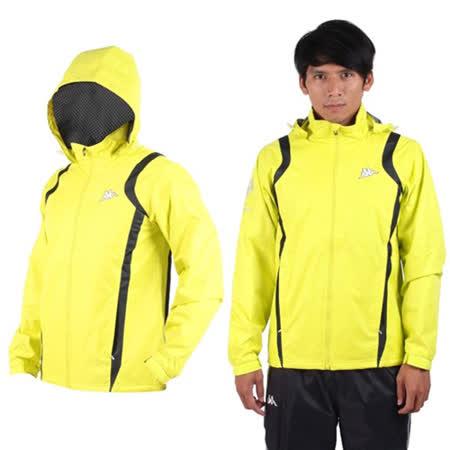 (男) KAPPA 防風外套-連帽外套 風衣外套 防風 防潑水 雙層 芥末黃黑(品特)
