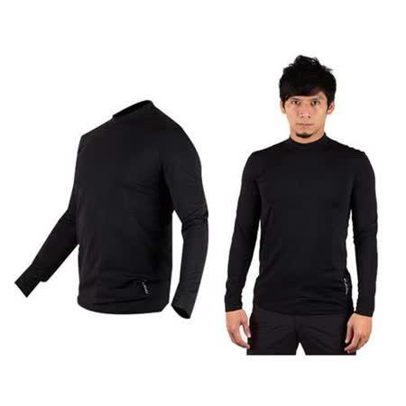 (男) WILDLAND 遠紅外線彈性保暖長袖T恤衣-刷毛 內衣  黑(品特)