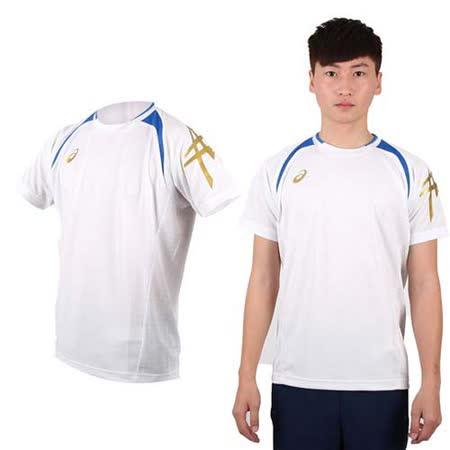 (男) ASICS 短袖T恤-短T 圓領 慢跑 路跑 亞瑟士 白藍