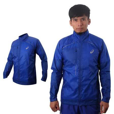 (男) ASICS LITE SHOW立領外套- 風衣 平織 慢跑 防潑水 寶藍銀