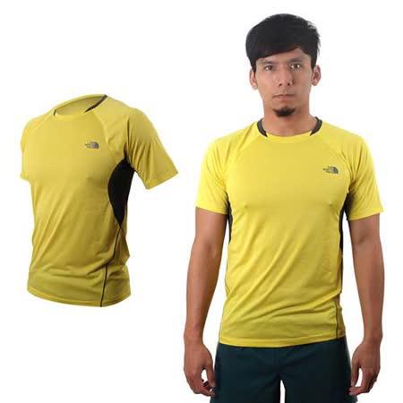 (男) THE NORTH FACE 短袖T恤- 圓領 短T 慢跑 路跑 單車 黃灰